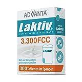 ADVANTA Laktiv 3.300 FCC, 300 Tabletten, Praktischer Spender, Laktase Enzym, Bei Laktoseintoleranz, Schnelle Wirkung