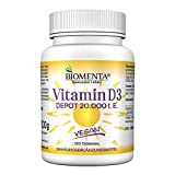 BIOMENTA Vitamin D3 hochdosiert – vegan - 20000 I. E. je Vitamin D Tablette – Depot 1 Tab. Vitamin D /20 Tage - 120 Vitamin D3 Tabletten aus Cholecalciferol