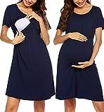 UNibelle Stillnachthemd Geburtskleid Nachthemd Zum Stillen Umstandsnachthemd Krankenhaus Navyblau S