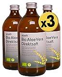 Aloe Vera Saft Vegan BIO Aloefit Aloeverose Direktsaft Rainbow Aloe Vera Juice organisch natürlich (3 x 500ml)