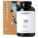 Kurkraft MSM (365 vegane Kapseln) - 1600mg Methylsulfonylmethan (MSM) je Tagesdosis - ohne Zusatzstoffe (Stearat etc.) - hochdosiert - sorgfältig hergestellt in Deutschland