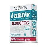 ADVANTA Laktiv 6.000 FCC, 300 Tabletten, Praktischer Spender, Laktase Enzym, Bei Laktoseintoleranz, Schnelle Wirkung