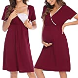 HOTLOOX Damen Umstandsnachthemd Geburt Krankenhaus Nachthemd Kurzarm Stillnachthemd für Schwangere und Stillzeit, Weinrot L