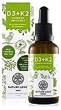 NATURE LOVE® Vitamin D3 + K2 (50ml flüssig) - Hoch bioverfügbar durch Original VitaMK7® 99,7% All-Trans + laborgeprüfte 1000 I.E. Vitamin D3 pro Tropfen - Hochdosiert, in Deutschland produziert