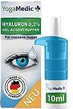 Augentropfen gegen trockene, rote, müde Augen mit Hyaluron [NEU2021] leichte Gel-Konsistenz, unkonserviert - YogaMedic® Made in Germany 10ml Kontaktlinsen geeignet