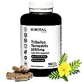 Tribulus Terrestris 2250 mg | 180 vegane Kapseln | 100% natürlich mit 90% Saponinen | Erhöht Testosteron, Muskelmasse, Kraft, Ausdauer und Energie und hilft bei der Muskelregeneration