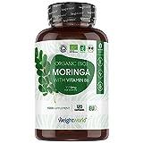 BIO Moringa Kapseln - 1100mg Moringa Oleifera - Superfood mit Proteinen, Aminosäuren & Vitaminen - Laborgeprüfte Zutaten - Moringa Bio Qualität ohne Zusätze - 120 vegane Kapseln - 2 Monate Vorrat