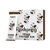 foodspring Veganer Protein Riegel, 12 x 60g, Schokolade Mandel, Rein pflanzlicher Protein Bar ohne künstliche Aromen, wenig Zucker und hoher Proteingehalt