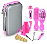 Babypflege Set, 8-teiliges Set für Baby Alltag Pflege Mit Baby Gesundheitswesen Kit mit Thermometer Nasensauger Pipette Feeder Nagel Haarpflegeset, Fingerzahnbürste Nasenpinzette (Pink)