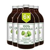 6 x 100% Graviola Frucht-Saft -unfiltriert & vegan- (6 x 500ml), aus 100% Graviola Püree. Vorteilskauf. Stachelannone, Soursop, Corossol, Guanabana.