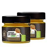 Naturbell Heisser Bio-Honig mit Thymian, Honig zum Einrühren in trinkwarmes Wasser, wohltuendes Heißgetränk für Hals und Stimme in der Erkältungszeit, enthält Bio-Blütenhonig und Thymian-Öl, 2 x 125g