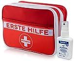 Erste Hilfe Set, deutschsprachig + Cutasept【gratis】Desinfektionslösung, Notfall-spezifischer Inhalt - Wandern, Reise, Zuhause, Pflaster, Strips