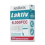 ADVANTA Laktiv 6.000 FCC, 100 Tabletten, Praktischer Spender, Laktase Enzym, Bei Laktoseintoleranz, Schnelle Wirkung