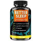 Melatonin Lutschtabletten 120x - leckerer Zitronen-Geschmack - 1mg Melatonin pro Tablette + Magnesium, L-Theanin und Glycin - zuckerfrei gesüßt, 100% vegan - Vorrat für 8 Monate - BETTER SLEEP