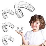 EastermCare Kinder-Mundschutz zum Zähneknirschen, 4 Stück Bissschutz + Zahnschutz-Etui, beseitigt klirrende Bruxismus, Zahnaufhellung und Sport, formbare Bissschutz für Kinder (5–10 Jahre alte Kinder)