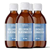 Dorado Superfoods ® kolloidales Silber Silberwasser   50 ppm 1000 ml (4 x 250 ml)   in medizinischer Braunglasflasche