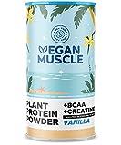 Vegan Muscle® - Vanille - Proteinpulver/Pflanzliches Protein mit BCAAs und Creatin - 600g Pulver