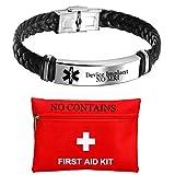 ForeverWill Personalised NO MRI Device Implant Lederarmband, kostenlose benutzerdefinierte gravierte medizinische Alarm ID Armband Armreif Alarmbewusstsein Notfall SOS Schmuck für Männer Frauen