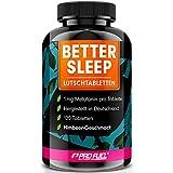 Melatonin Lutschtabletten 120x - leckerer Himbeere-Geschmack - 1mg Melatonin pro Tablette + Magnesium, L-Theanin und Glycin - zuckerfrei gesüßt, 100% vegan - Vorrat für 8 Monate - BETTER SLEEP