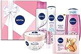 NIVEA Geschenkbox Rosa, Pflegeset mit Shampoo, Reinigungstüchern, Tagespflege, Pflegedusche und mehr, Geschenkset mit Pflegeprodukten für besondere Wohlfühlmomente