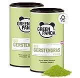GREEN PANDA® Gerstengras Pulver Bio aus Österreich | Bio Gerstengras Pulver in nachhaltiger Kartondose | Für grüne Smoothies, Super Green Pulver Shakes, Chlorophyll zum Trinken | 2x 125g