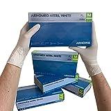 ARNOMED Nitril Einweghandschuhe M, weiß, latexfrei, 100 Stück/Box, Einmalhandschuhe, puderfrei, Nitrilhandschuhe, in Gr. S, M, L & XL verfügbar