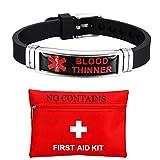 ForeverWill Männer Frauen Edelstahl Silikon Medical Alert Blood Thinner Awareness Armband Star of Life Medic Krankheit Typ Alarm Armband für Blutverdünner Patienten