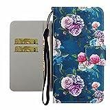 TYWZ Hülle für iPhone 11,Handyhülle Tasche PU Leder Case mit Kartenfach Geldfach Brieftasche Klappbar Magnet Flip Cover-Rose Blume