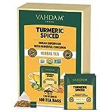 VAHDAM, Bio-Kurkuma Gewürztee (100 Loser Tee Teebeutel)   USDA zertifiziert Bio   Kurkumapulver & frische Gewürze Kurkuma Tee zur Unterstützung Immunität & Gewichtsabnahme   Natürliche Detox Tee