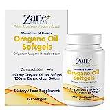 Zane Hellas Oreganoöl-Kapseln - Die höchste Konzentration der Welt - 150 mg ätherisches Oreganoöl - 130 mg Carvacrol pro Kapsel - 60 Count - Immun- und Darmunterstützung