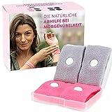 Cozy Racoon Akupressur Armband gegen Übelkeit in der Schwangerschaft I Effektiv und ohne Nebenwirkungen I Praktische Transportbox I 4 Stück (2x Pink, 2x Grau)
