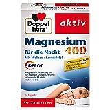 Doppelherz Magnesium 400 für die Nacht mit Melisse und Lavendelöl – Magnesium zur Unterstützung der normalen Muskel- und Nervenfunktion – 1 x 30 Tabletten