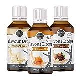borchers Flavour Drops Probierpaket, je 1 x Weiße Schokolade, Karamel und Nougat, 3 x 30 ml, 0 Kalorien, Süßstoff Flüssig, zum Kochen und Backen, Für Getränke