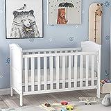 Babybett aus Holz mit Schaumstoff-Matratze, einhändige Seitenseite, Beißschienen und Sicherheitsbarriere (weiß)