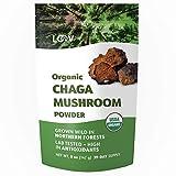 LOOV Bio Chaga-Pilzpulver, wild geerntet, nachhaltig in unberührten nordischen Wäldern angebaut, nicht kultiviert, ganzer roher Chaga, viele Antioxidantien, 142 g, Vorrat für 39 Tage