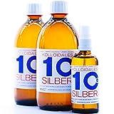 Kolloidales Silber 10PPM 1100ml 2 * 500ml & Spray 100ml Silberwasser ● tgl. Produktion und Direktlieferung ● Made in Germany