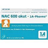 NAC 600 akut - 1A-Pharma Brausetabletten zum Lösen von Schleim, 20 St. Tabletten
