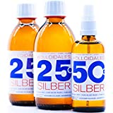 Kolloidales Silber 600ml 25ppm 2 * 250ml & Spray 50ppm 100ml Silberwasser ● tgl. Produktion und Direktlieferung ● PureSilverH2O ● Made in Germany