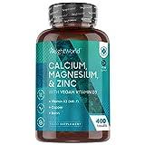 Kalzium, Magnesium & Zink - 400 Tabletten - Mit Vitamin D3, K2, Selen, Mangan, Bor - Geprüfte, Natürliche Inhaltsstoffe - Vegane Vitamine & Mineralstoffe - 500mg Kalzium - Elektrolytgleichgewicht