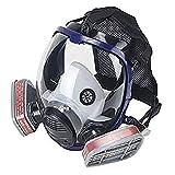 OHMOTOR Vollmaske Atemschutzmaske mit Luftfilterpatrone Vollgesichtsmaske für organische Dunst