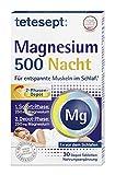 tetesept Magnesium 500 Nacht – Nahrungsergänzungsmittel mit hochdosiertem Magnesium – entspannte Muskeln im Schlaf mit Magnesium Tabletten – 1 x 30 Tabletten