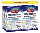 Abtei Magnesium 400 - Magnesiumtabletten hochdosiert, Tabletten zur Aktivierung und Aufrechterhaltung der Muskelfunktionen, vegan - Vorratspackung 180 Tabletten (6x30 Tabletten)