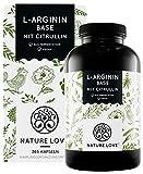 NATURE LOVE® L-Arginin Base mit Citrullin - Hochwertiges pflanzliches Arginin in BASE Form mit 99,7+% Reinheit - 365 Kapseln - Hochdosiert, vegan, in Deutschland produziert