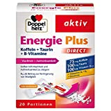 Doppelherz Energie Plus Koffein + Taurin + B-Vitamine DIRECT – Mit Vitamin B1, B5 (Pantothensäure) und B12 als Beitrag zum Energiestoffwechsel – 20 Portionsbeutel