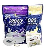 Atlant Vital Set aus Inkospor Active Pro 80 Protein Shake Eiweißpulver viele Geschmacksrichtungen 2x 500g + 2Proteinriegel und AV Massband (Vanille/Blueberry Yoghurt)
