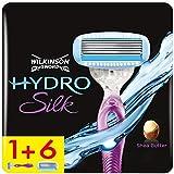 Wilkinson Sword Hydro Silk Damen Rasierer und Rasierklingen, Rasierer + 6 Ersatzklingen, briefkastenfähig