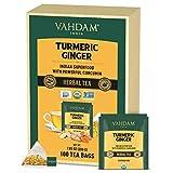 VAHDAM, Bio-Kurkuma + Ingwer-Kräutertee (100 Loser Tee Teebeutel)   Kraftvolles Superfood Wellness und heilende Eigenschaften von Kurkuma & Ingwer  100% natürlich  Kein Koffein, hilft Verdauung
