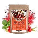 Hagebuttenpulver 1kg naturrein glutenfrei Rohkost-Qualität - Hagebuttenfrüchte gemahlen ohne Zusätze - Hagebuttengranulat