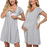 Meaneor Damen Geburtskleid Krankenhaus Nachtkleid für Schwangere Damen mit Stillfunktion Umstands-Nachthemd Stillnachthemd Umstands-Pyjama