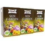 Apsara Sun Garden Tee Mischung Set mit 60 Teebeutel, 3 in 1 Kräutertee mit Pfefferminze Ringelblumen und Kamille, Anti Stress Tee wirkt entspannend als natürliche Einschlafhilfe am Abend